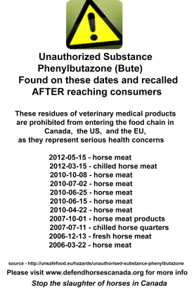 Examples of bute found in horsemeat in the EU