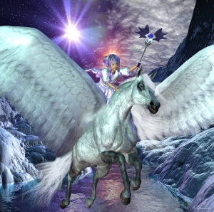 Pegasus became the servant of of the gods. There he was the mount of Eos to help bring the dawn, or was ridden by Apollo to bring the sun. Pegasus also served Zeus by bringing to him the thunder and lightning needed for the thunderbolts. For all his noble services, Pegasus was honoured by a constellation in the autumn sky.
